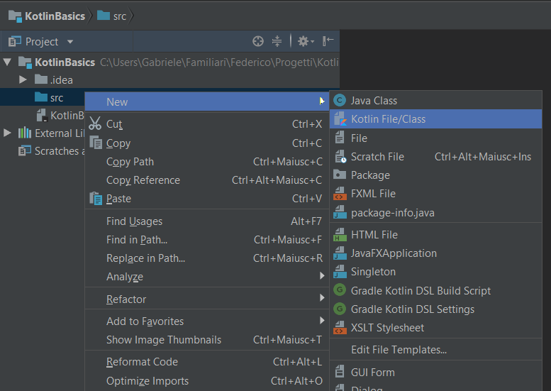 Creating a new Kotlin file