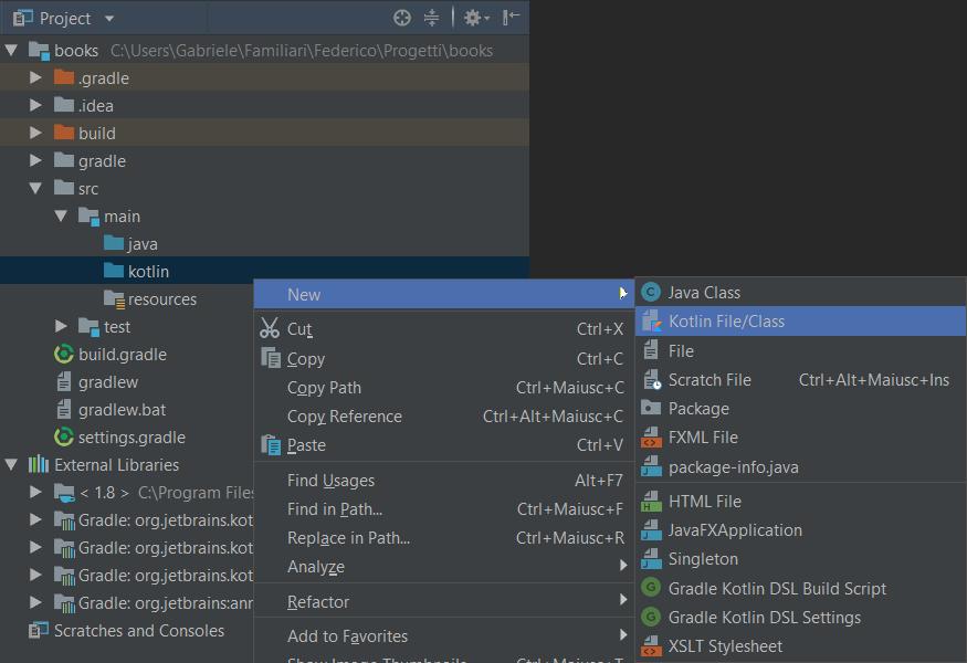 New Kotlin file (gradle)