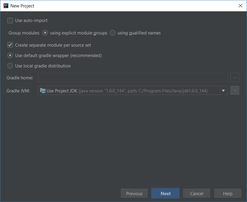 New project setting (gradle)