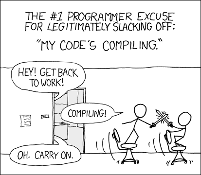 XKCD comic 303: Compiling