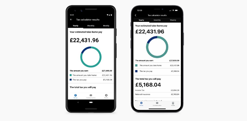 Screenshot of the HMRC app showing the resulting graph for take home salary and income tax for both Apple and Android