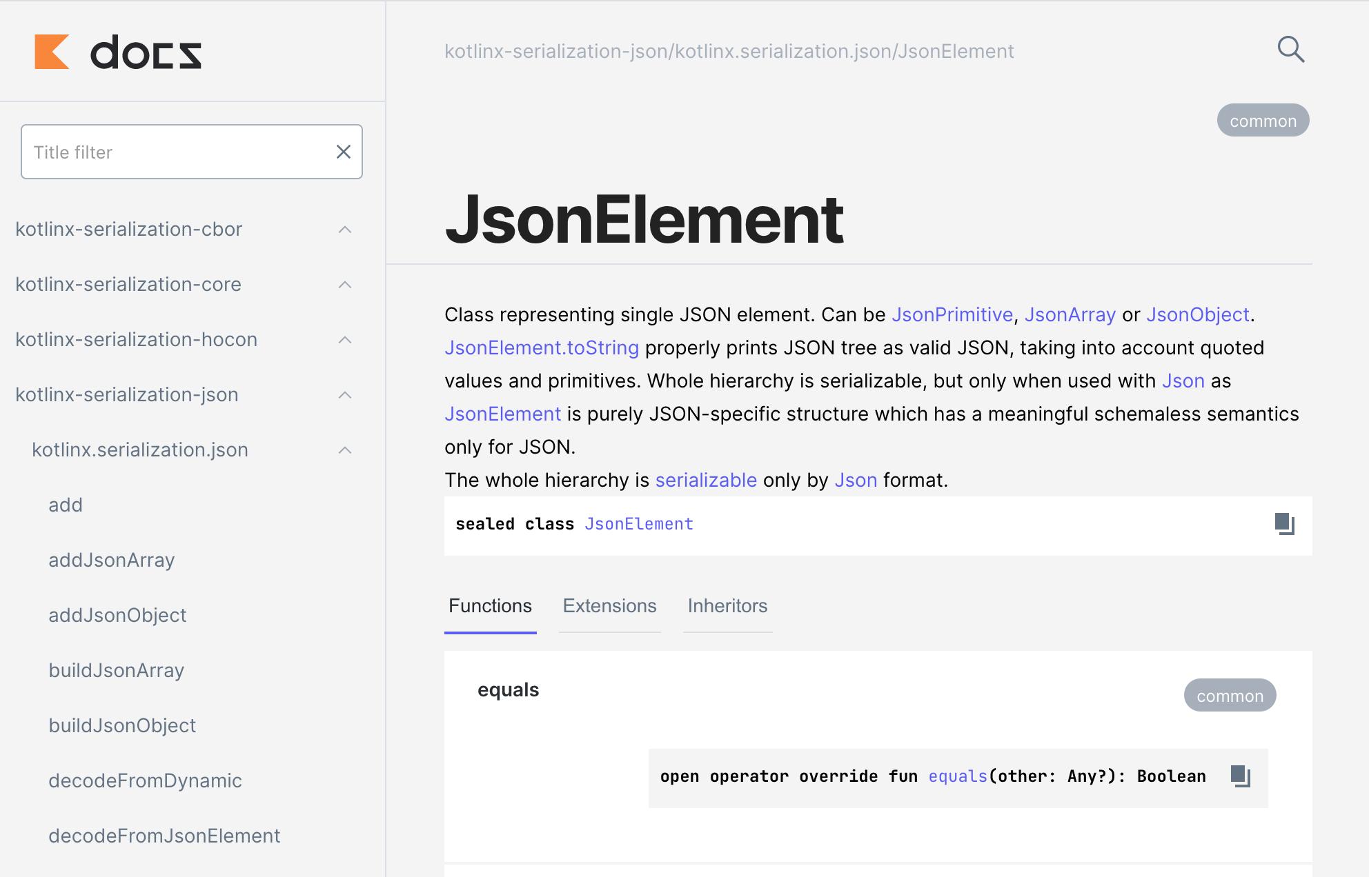 新しい API ドキュメントの例、表示されているのは JsonElement ドキュメント