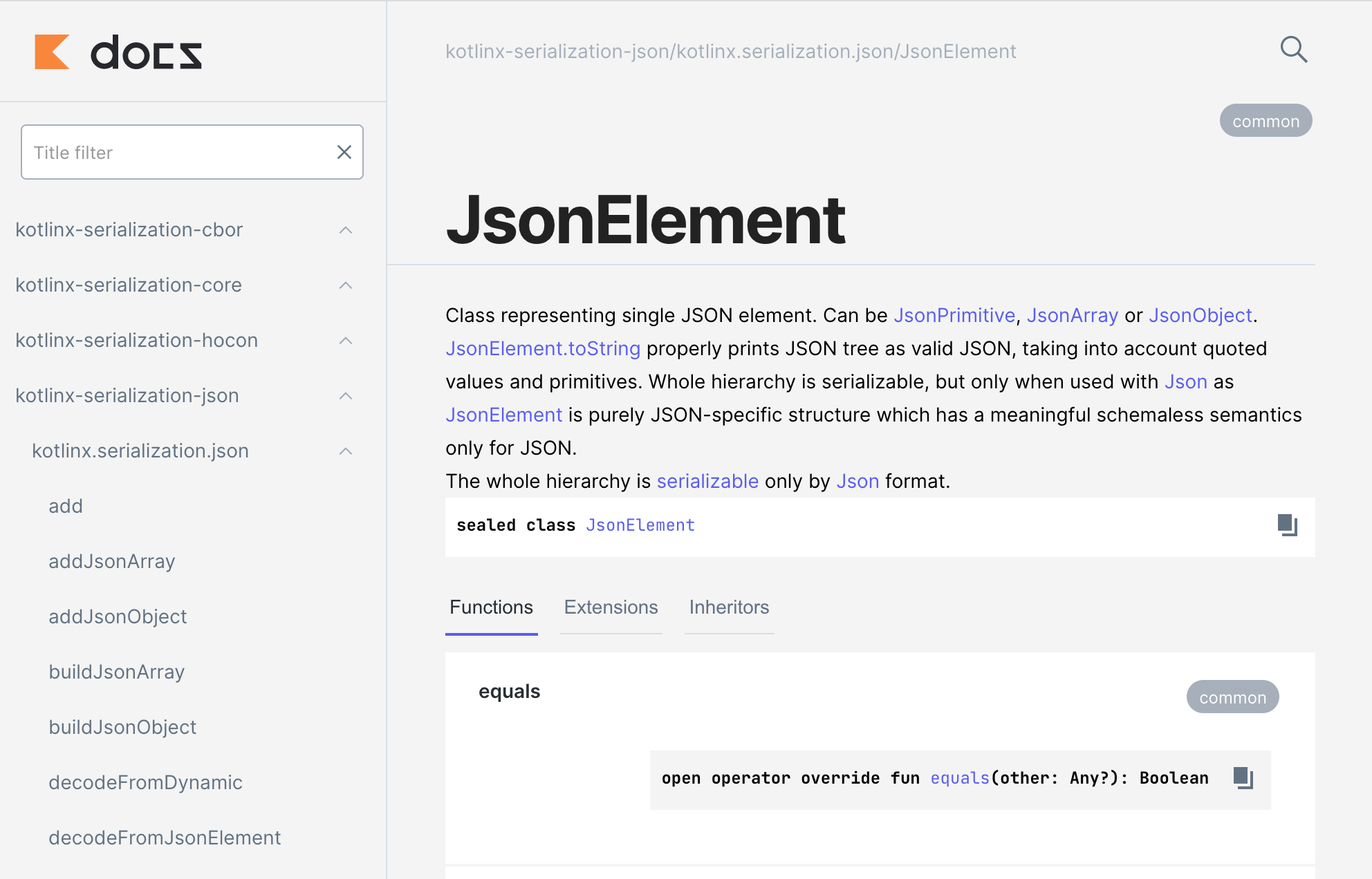 Example of the new API docs, showing the JsonElement documentation